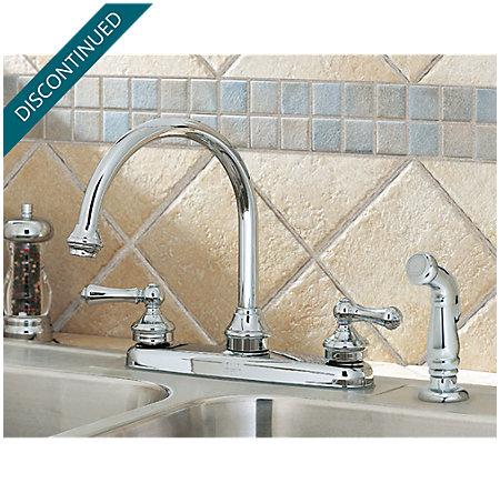 Polished Chrome Savannah 2-Handle Kitchen Faucet - T36-85BC - 3