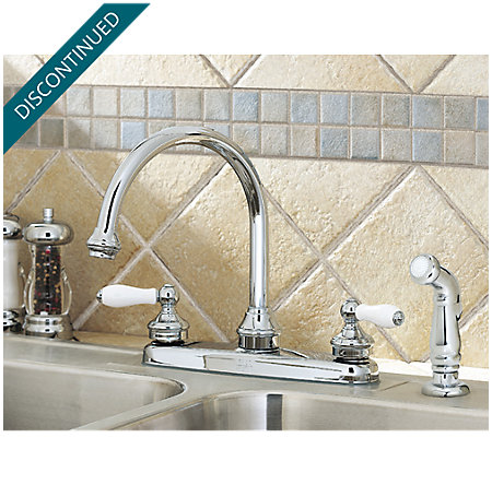 Polished Chrome / White Porcelain Savannah 2-Handle Kitchen Faucet - T36-85PC - 3
