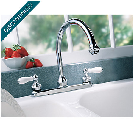 Polished Chrome / White Porcelain Savannah 2-Handle Kitchen Faucet - T36-85PC - 4