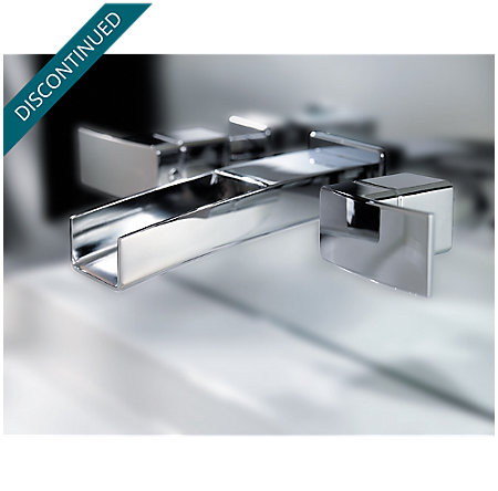 Polished Chrome Kenzo Wall Mount Widespread Trough Bath Faucet - T49-DF1C - 8