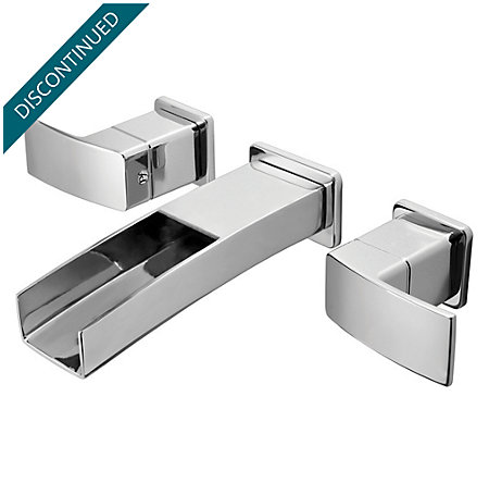 Polished Chrome Kenzo Wall Mount Widespread Trough Bath Faucet - T49-DF1C - 1