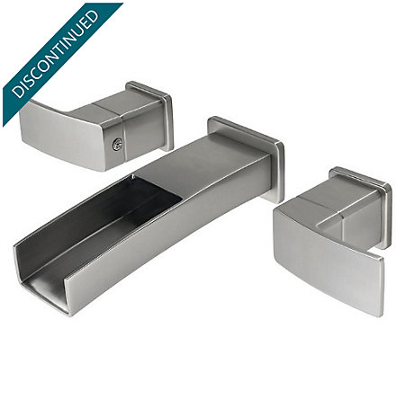Brushed Nickel Kenzo Wall Mount Widespread Trough Bath Faucet - T49-DF1K - 1
