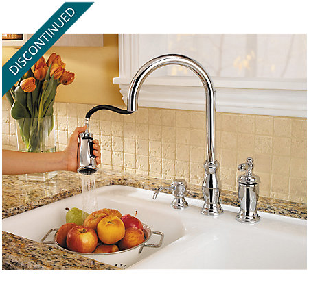 Polished Chrome Hanover 1-Handle, Pull-out/Pull-Down Kitchen Faucet - T526-TMC - 2