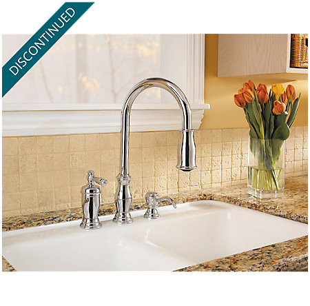 Polished Chrome Hanover 1-Handle, Pull-out/Pull-Down Kitchen Faucet - T526-TMC - 4