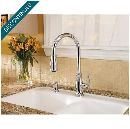 Polished Chrome Hanover 1-Handle, Pull-out/Pull-Down Kitchen Faucet - T529-TMC - 7