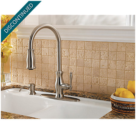 Stainless Steel Hanover 1-Handle, Pull-out/Pull-Down Kitchen Faucet - T529-TMS - 9