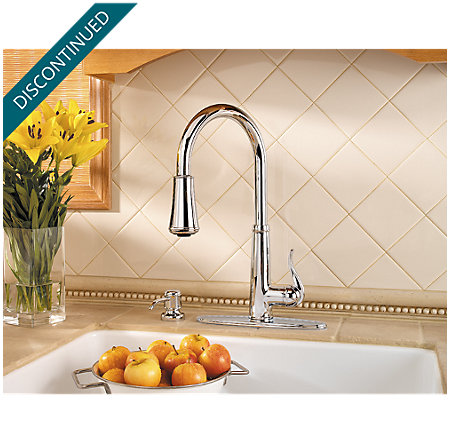 Polished Chrome Ashfield 1-Handle, Pull-Down Kitchen Faucet - T529-YPC - 5