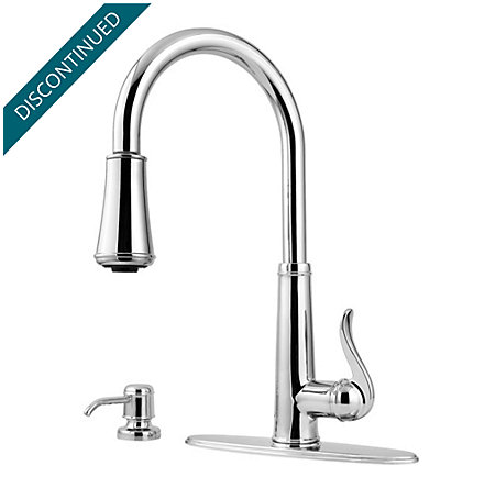 Polished Chrome Ashfield 1-Handle, Pull-Down Kitchen Faucet - T529-YPC - 2