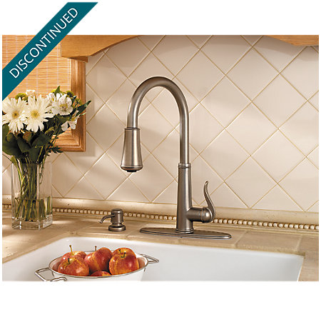 Rustic Pewter Ashfield 1-Handle, Pull-Down Kitchen Faucet - T529-YPE - 5