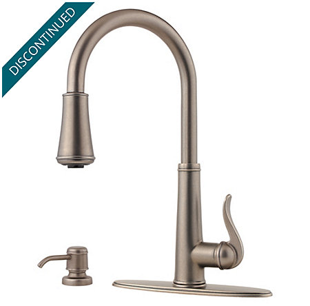 Rustic Pewter Ashfield 1-Handle, Pull-Down Kitchen Faucet - T529-YPE - 2