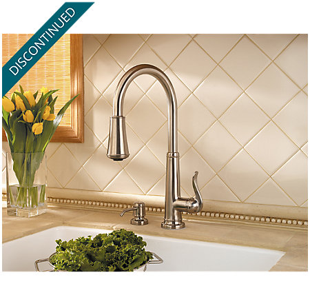Brushed Nickel Ashfield 1-Handle, Pull-Down Kitchen Faucet - T529-YPK - 4