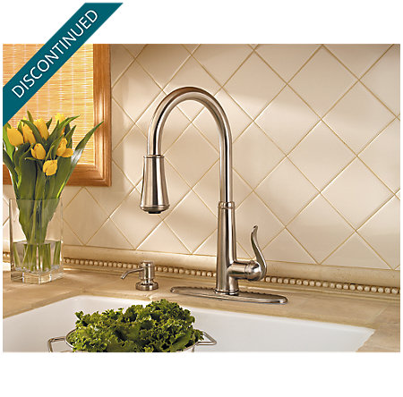 Brushed Nickel Ashfield 1-Handle, Pull-Down Kitchen Faucet - T529-YPK - 5