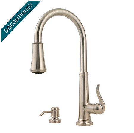 Brushed Nickel Ashfield 1-Handle, Pull-Down Kitchen Faucet - T529-YPK - 1