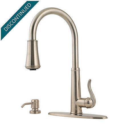 Brushed Nickel Ashfield 1-Handle, Pull-Down Kitchen Faucet - T529-YPK - 2