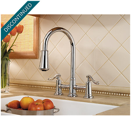 Polished Chrome Ashfield 2-Handle, Pull-Down Kitchen Faucet - T531-YPC - 2