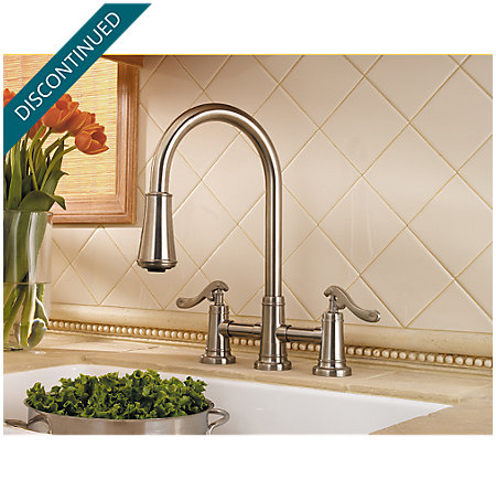 Brushed Nickel Ashfield 2-Handle, Pull-Down Kitchen Faucet - T531-YPK - 2