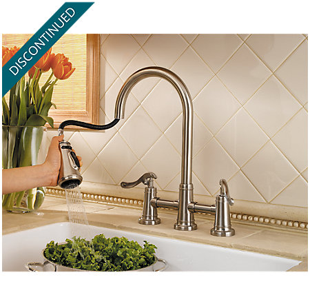 Brushed Nickel Ashfield 2-Handle, Pull-Down Kitchen Faucet - T531-YPK - 3