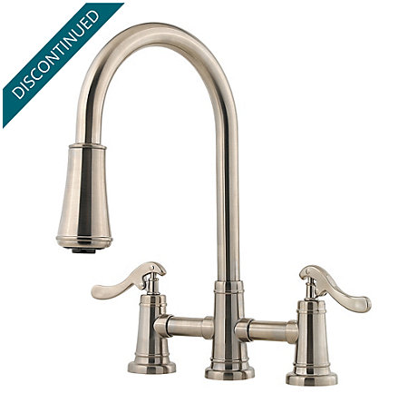 Brushed Nickel Ashfield 2-Handle, Pull-Down Kitchen Faucet - T531-YPK - 1