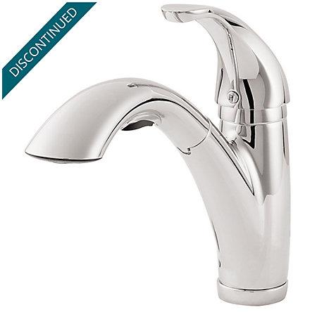 Polished Chrome Parisa 1-Handle, Pull-Out Kitchen Faucet - T534-7CC - 1