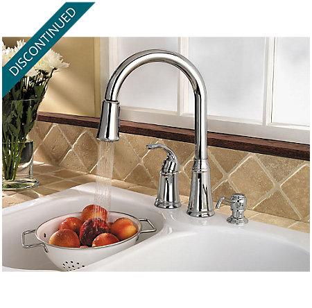 Polished Chrome Classic 1-Handle, Pull-out/Pull-Down Kitchen Faucet - WKP-650C - 3