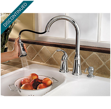 Polished Chrome Classic 1-Handle, Pull-out/Pull-Down Kitchen Faucet - WKP-650C - 4