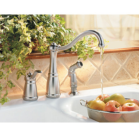 Stainless Steel Marielle 1-Handle Kitchen Faucet - F-026-3NSS - 2