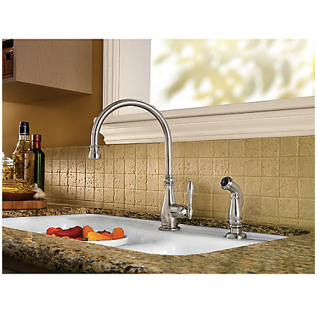Stainless Steel Alina 1-Handle Kitchen Faucet - F-029-4HYS - 2