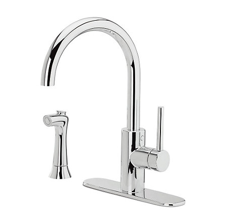 Polished Chrome Solo 1-Handle Kitchen Faucet - F-029-4SLC - 2