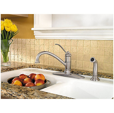 Stainless Steel Brookwood 1-Handle Kitchen Faucet - F-034-4ALS - 2