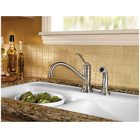 Stainless Steel Brookwood 1-Handle Kitchen Faucet - F-034-4ALS - 3