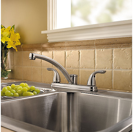 Stainless Steel Delton 2-Handle Kitchen Faucet - F-035-3THS - 2