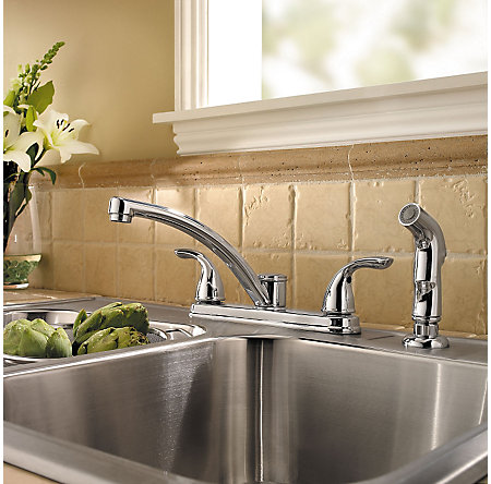 Polished Chrome Delton 2-Handle Kitchen Faucet - F-035-4THC - 2