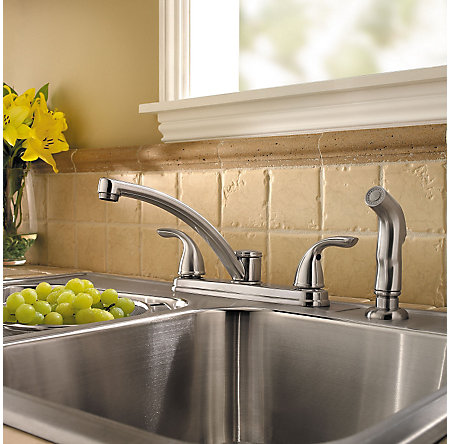 Stainless Steel Delton 2-Handle Kitchen Faucet - LF-035-4THS - 2