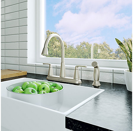 Spot Defense Stainless Steel Allegan 2-Handle Kitchen Faucet - F-036-4AGGS - 2