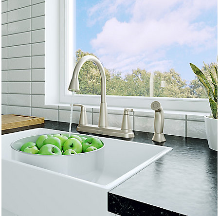 Spot Defense Stainless Steel Allegan 2-Handle Kitchen Faucet - F-036-4AGGS - 4