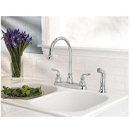 Polished Chrome Avalon 2-Handle Kitchen Faucet - LF-036-4CBC - 2