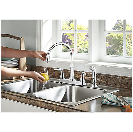 Polished Chrome Cantara 2-Handle Kitchen Faucet - F-036-4CRC - 4