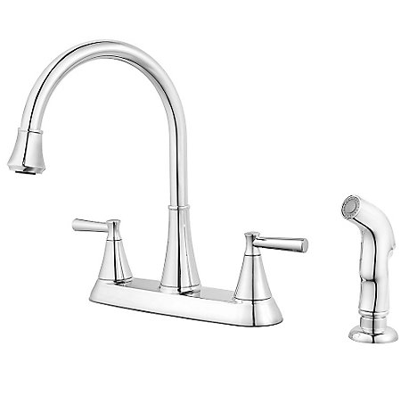 Polished Chrome Cantara 2-Handle Kitchen Faucet - F-036-4CRC - 1