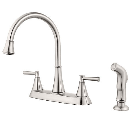 Stainless Steel Cantara 2-Handle Kitchen Faucet - F-036-4CRS - 1