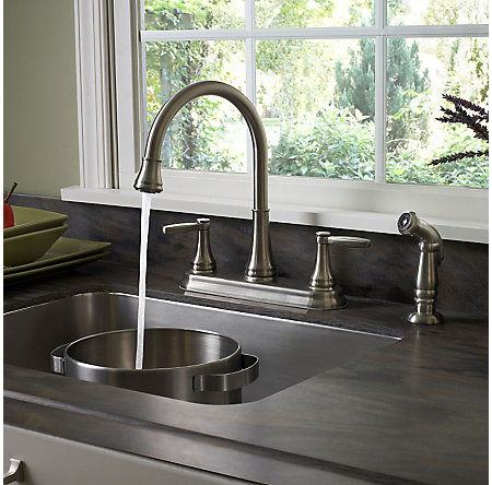 stainless steel glenfield 2-handle kitchen faucet - f-036-4gfs - 3