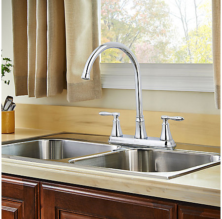 Polished Chrome Glenora 2-Handle Kitchen Faucet - F-036-4GNC - 4