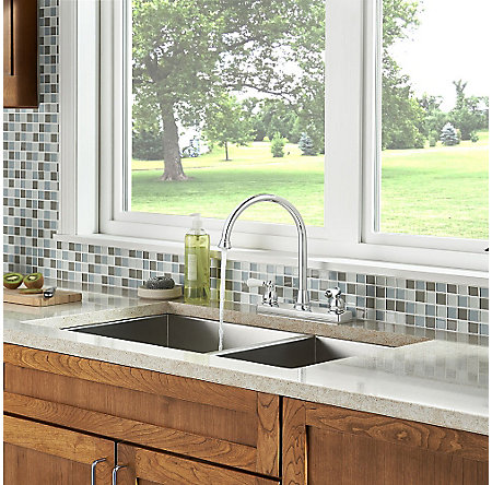 Polished Chrome Henlow 2-Handle Kitchen Faucet - F-036-4HLC - 6