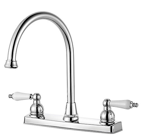 Polished Chrome Henlow 2-Handle Kitchen Faucet - F-036-4HLC - 2
