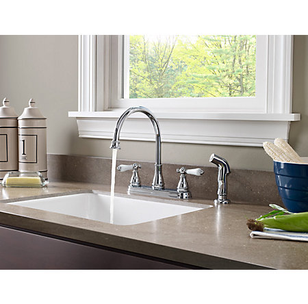 Polished Chrome Sonterra 2-Handle Kitchen Faucet - F-036-4SNC - 3
