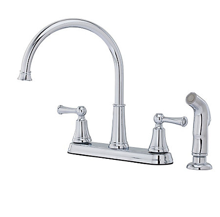 Polished Chrome Bremerton 2-Handle Kitchen Faucet - F-036-4SVC - 1