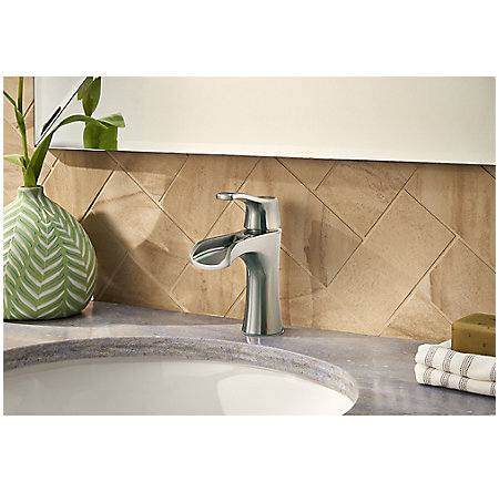 Brushed Nickel Aliante Single Control, Centerset Bath Faucet - LF-042-ATKK - 3