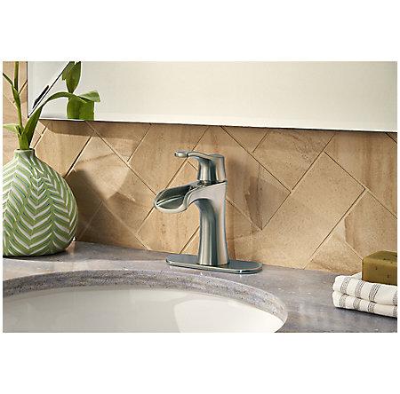 Brushed Nickel Aliante Single Control, Centerset Bath Faucet - LF-042-ATKK - 4