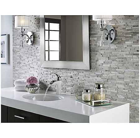 Polished Chrome / White Porcelain Brea Single Control, Centerset Bath Faucet - LF-042-BRCW - 5