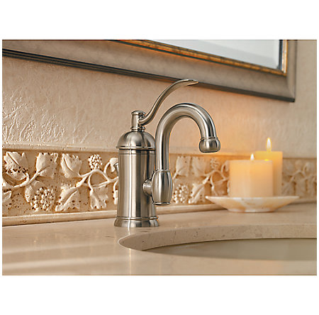 brushed nickel amherst single control, centerset bath faucet - f-042-hak0 - 3