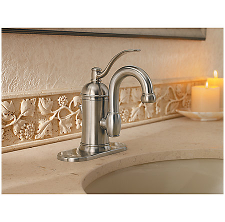 Brushed Nickel Amherst Single Control, Centerset Bath Faucet - F-042-HAK0 - 4